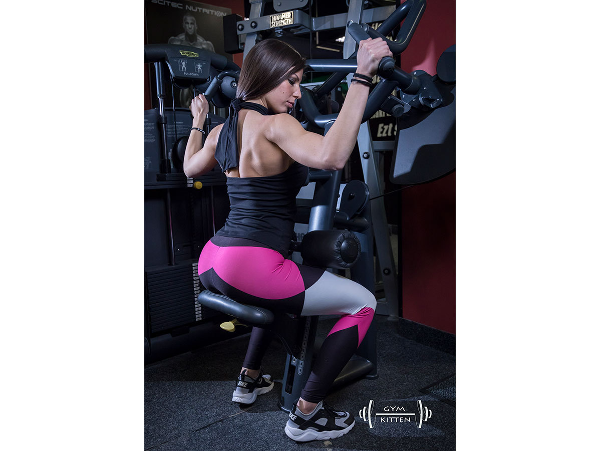 Gym Kitten Fitness Együttes pink-fekete-fehér - L