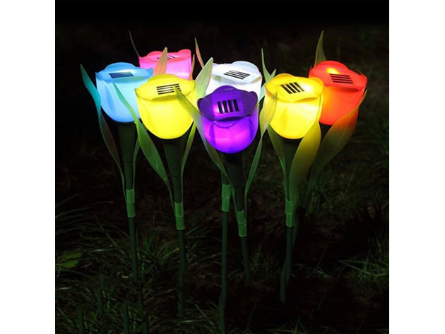 6 db Kerti napelemes LED világítás tulipán lámpa