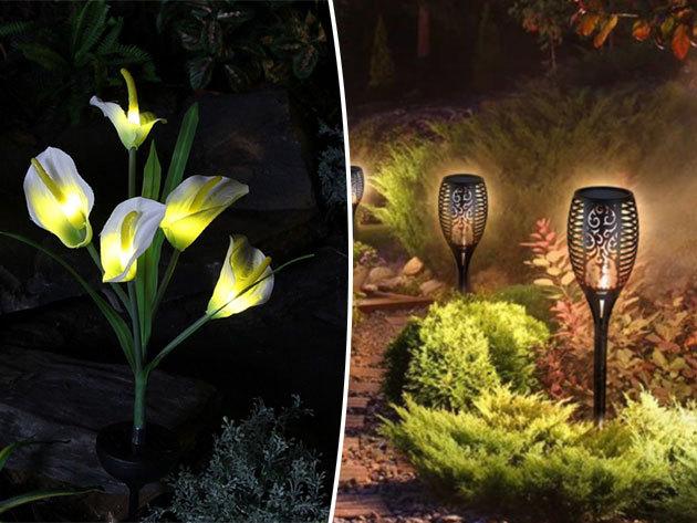 Napelemes kerti LED fényforrások - fehér kála, tulipán lámpák vagy fáklya