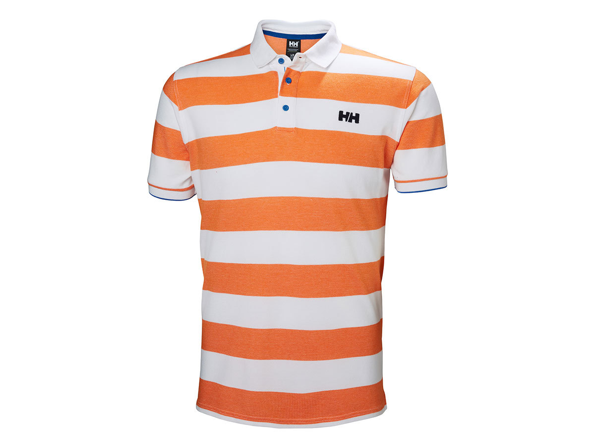 Helly Hansen MARSTRAND POLO - BLAZE ORANGE STRIPE - L (53022_282-L )