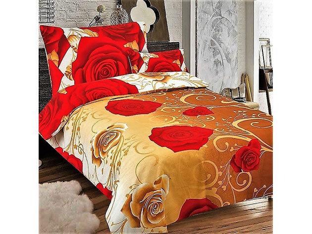 Flanel ágynemű Pakisztánból, 7 részes, arany színben vörös rózsa