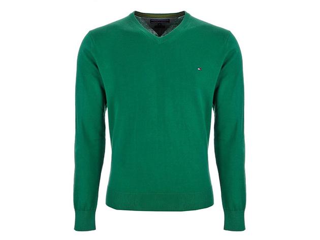 7d9ef71b78 Tommy Hilfiger V-nyakú férfi pulóver 100% minőségi pamut anyagból (M ...