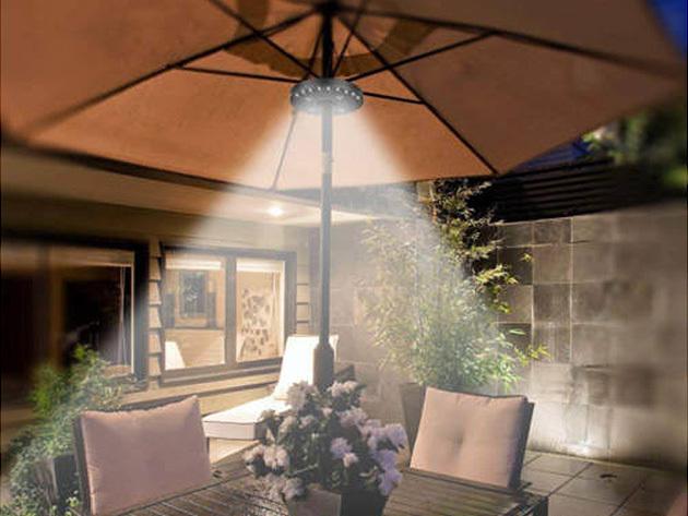LED napernyő világítás, mely a tartórúdra esősíthető: 28 db LED égő  és 3 működési mód