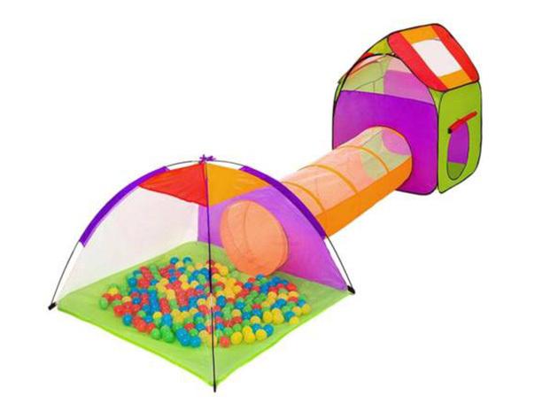 Játszósátor alagúttal + 200 db ajándék labdával: ideális a kertbe vagy a gyerekszobába, gyorsan felállítható