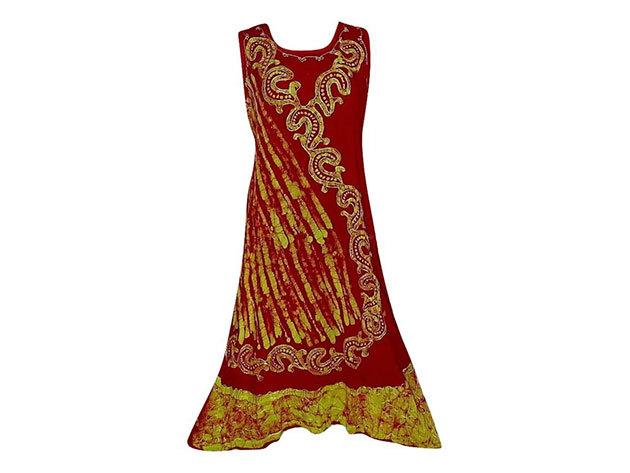 Nagy méretű hosszú ruha Indiából 2509 - piros