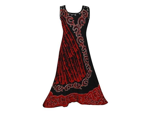 Nagy méretű hosszú ruha Indiából 2509 - piros-fekete