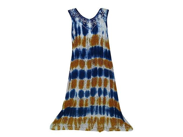 Nagy méretű hosszú ruha Indiából 2506 - csíkos-kék-arany