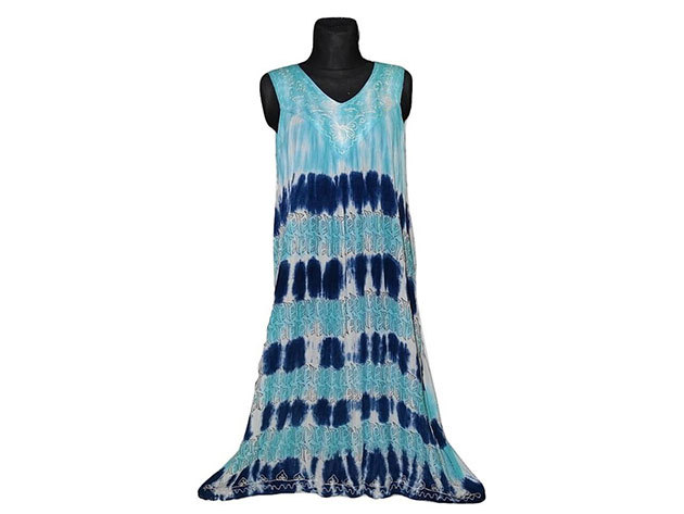 Nagy méretű hosszú ruha Indiából 2506 - csíkos-kék