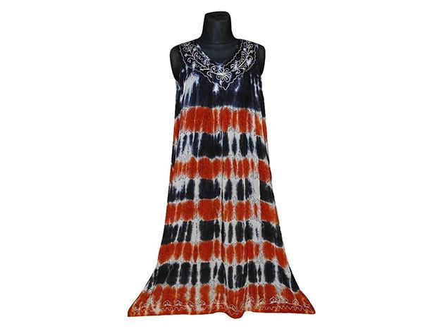 Nagy méretű hosszú ruha Indiából 2506 - fekete-narancs