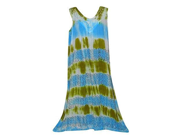 Nagy méretű hosszú ruha Indiából 2506 - kék-mustár
