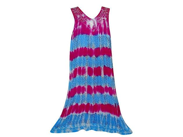 Nagy méretű hosszú ruha Indiából 2506 - kék-pink