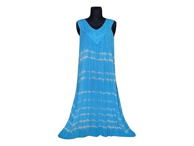 Nagy méretű hosszú ruha Indiából 2507 - világoskék