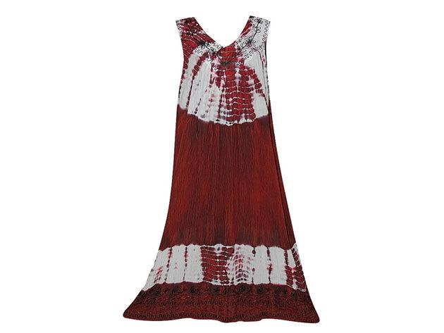 Nagy méretű hosszú ruha Indiából 2503 - bordó
