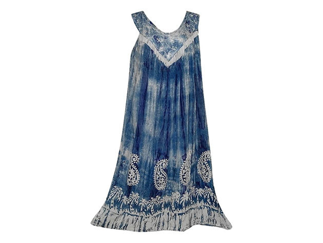 Nagy méretű hosszú ruha Indiából 2205 - kékes szürke