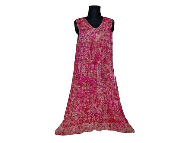 Nagy méretű hosszú ruha Indiából 2510 - rózsaszín