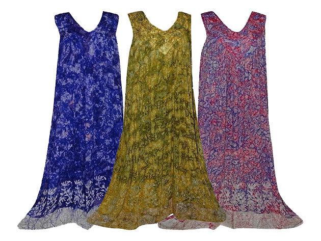 Hosszú nyári ruhák Indiából 100% minőségi műselyem anyagból, nagy méretben