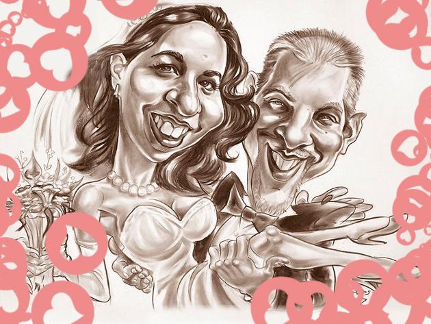 Romantikus meglepetés: Karikatúra fénykép alapján papíron, vagy akár színes, digitális kivitelben is!