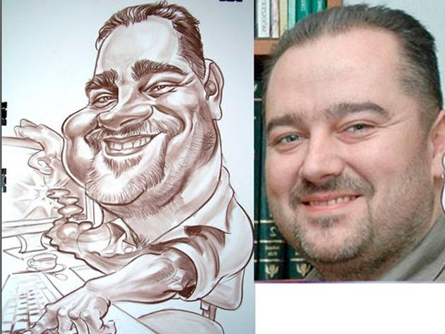Portré karikatúra, karikatúra, 1 arc + hobby. - Papíron.