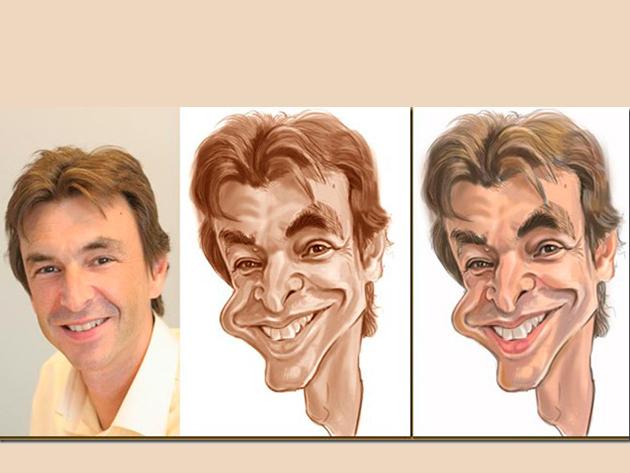 Portré karikatúra, 1 arc. - Papíron és digitálisan.