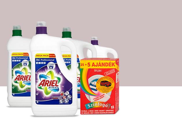 4 db Ariel Actilift 4,75l fehér vagy színes ruhákhoz + 20 db Dylon színfogókendő