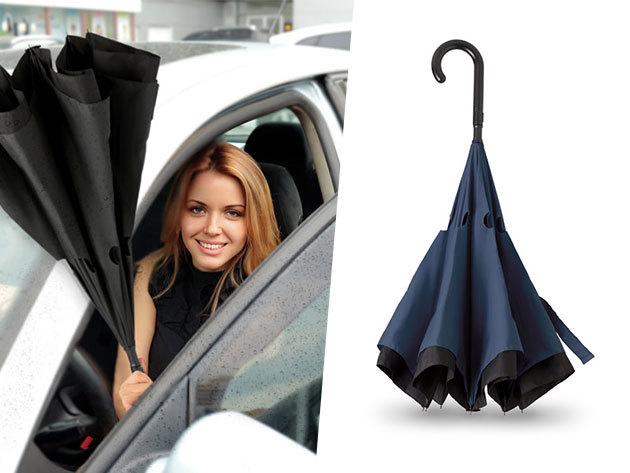 Fordított esernyő - technológiájának köszönhetően az ernyő belsejébe vezeti az esővizet, külseje száraz marad összecsukás után is