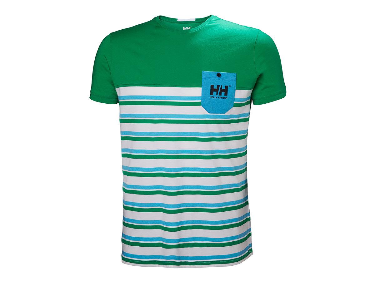 Helly Hansen FJORD T-SHIRT - PEPPER GREEN STRIPES - L (53025_471-L ) - AZONNAL ÁTVEHETŐ