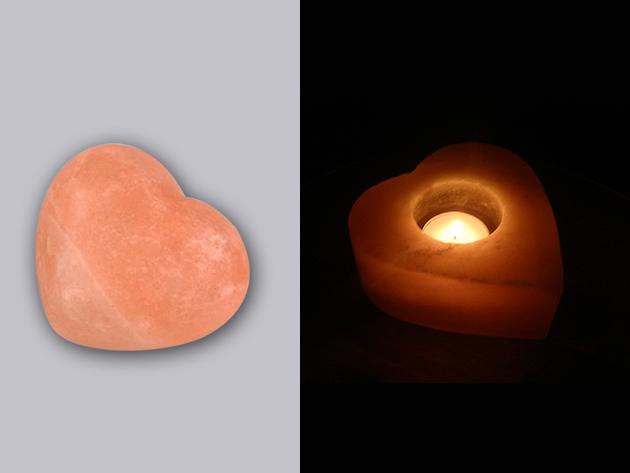 Valentin napi himalájai sóajándék: 1 db szívmécses + 1 db szívszappan