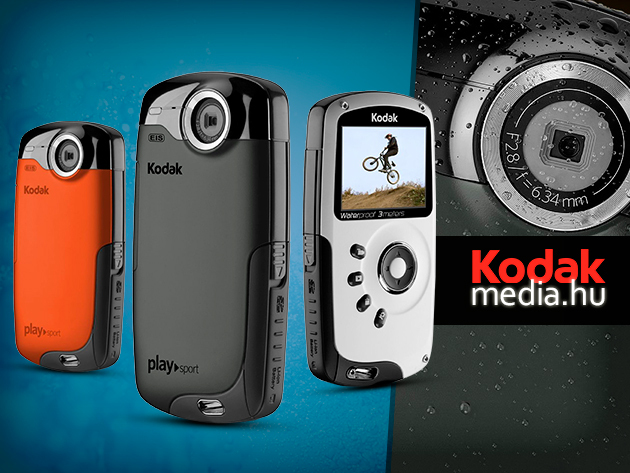 Víz- és ütésálló digitális video kamera - Kodak Playsport ZX3 Full HD, 4 GB-os memóriakártyával 39.900 Ft-ért! További kiegészítők a rögzítéshez!