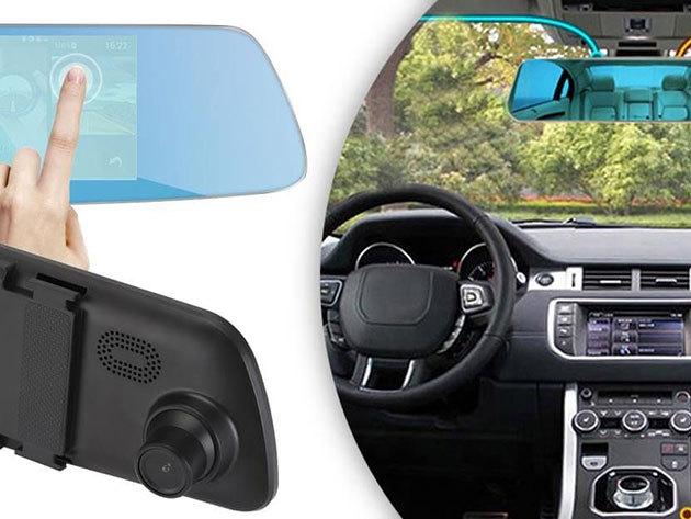 Érintőképernyős, visszapillantó tükörbe épített eseményrögzítő és tolató kamera (magyar menüs) 4,3 inch HD digitális képernyővel