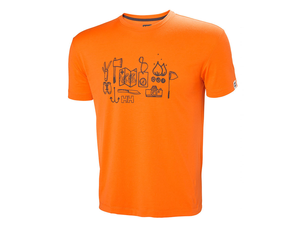 Helly Hansen SKOG GRAPHIC T-SHIRT - BLAZE ORANGE - L (62856_282-L )