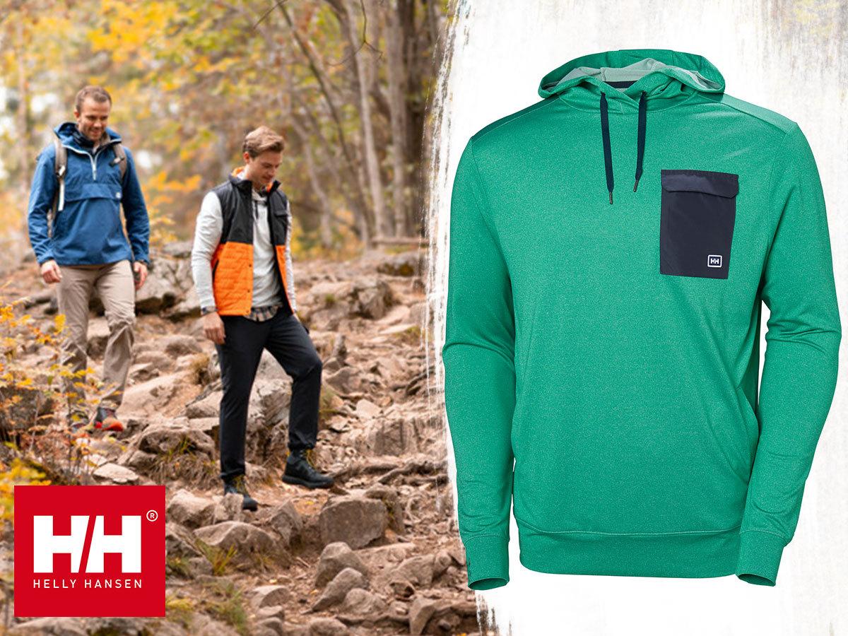 Helly Hansen HYGGEN LIGHT HOODIE kapucnis, szuper könnyű, vékony technikai pulóver férfiaknak újrahasznosított anyagból