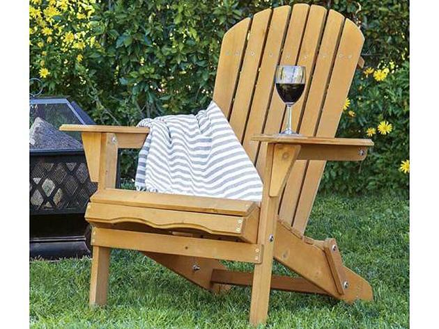Kerti szék masszív fa szerkezettel - összecsukható, klasszikus design, széles ülőfelület és kartámasz, döntött háttámla és ülés, 120 kg-os teherbírás