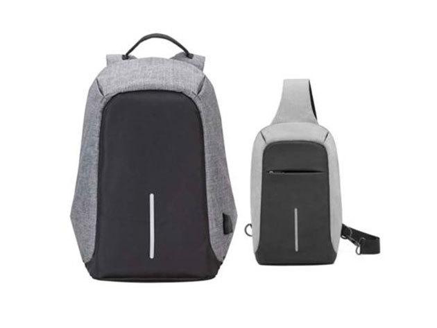 Lopásbiztos hátizsák és oldaltáska szett - szürke