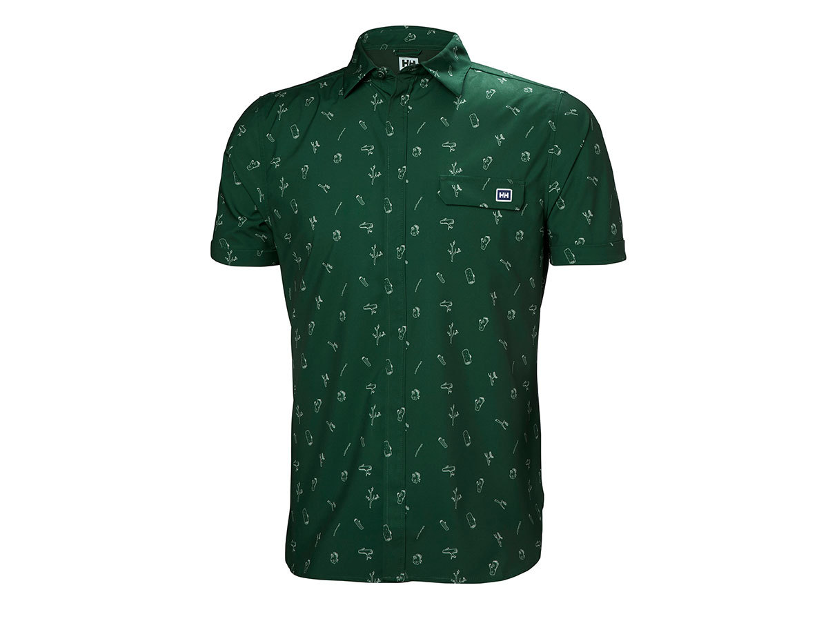 Helly Hansen OYA SS SHIRT - JUNGLE GREEN PRINT - XL (62854_390-XL )