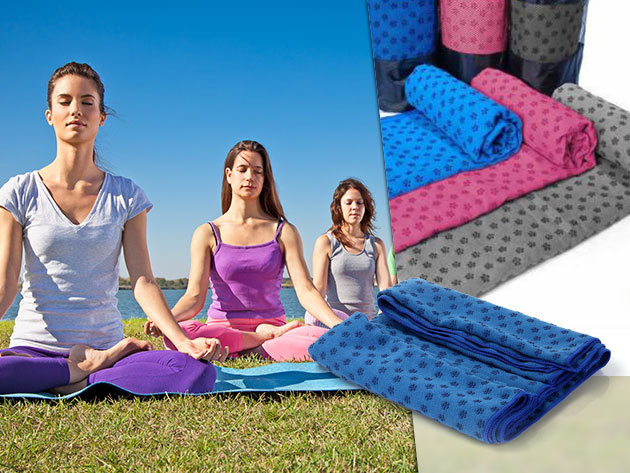 Csúszásmentes jóga törölköző kellemes tapintású tartós anyagból, rózsaszín, kék és szürke színben - 63x185 cm