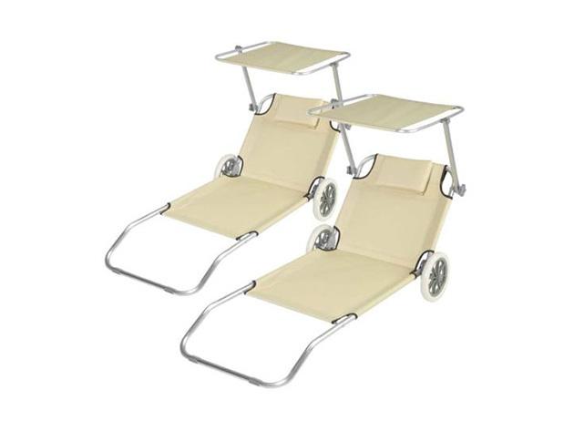 2 db bézs mobil napozó ágy, árnyékolóval