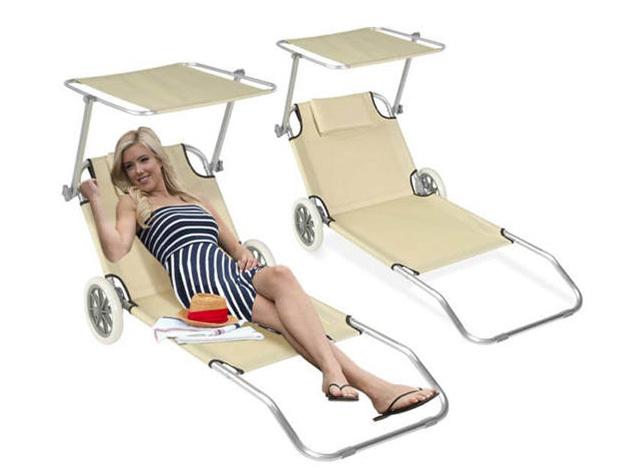 Mobil napozóágyak - 2 db kényelmes fekhely lehajtható árnyékolóval és fejpárnával
