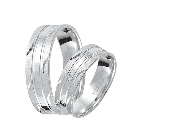 Valentin Napi Ezüst karikagyűrű pár E009-es (2 db)