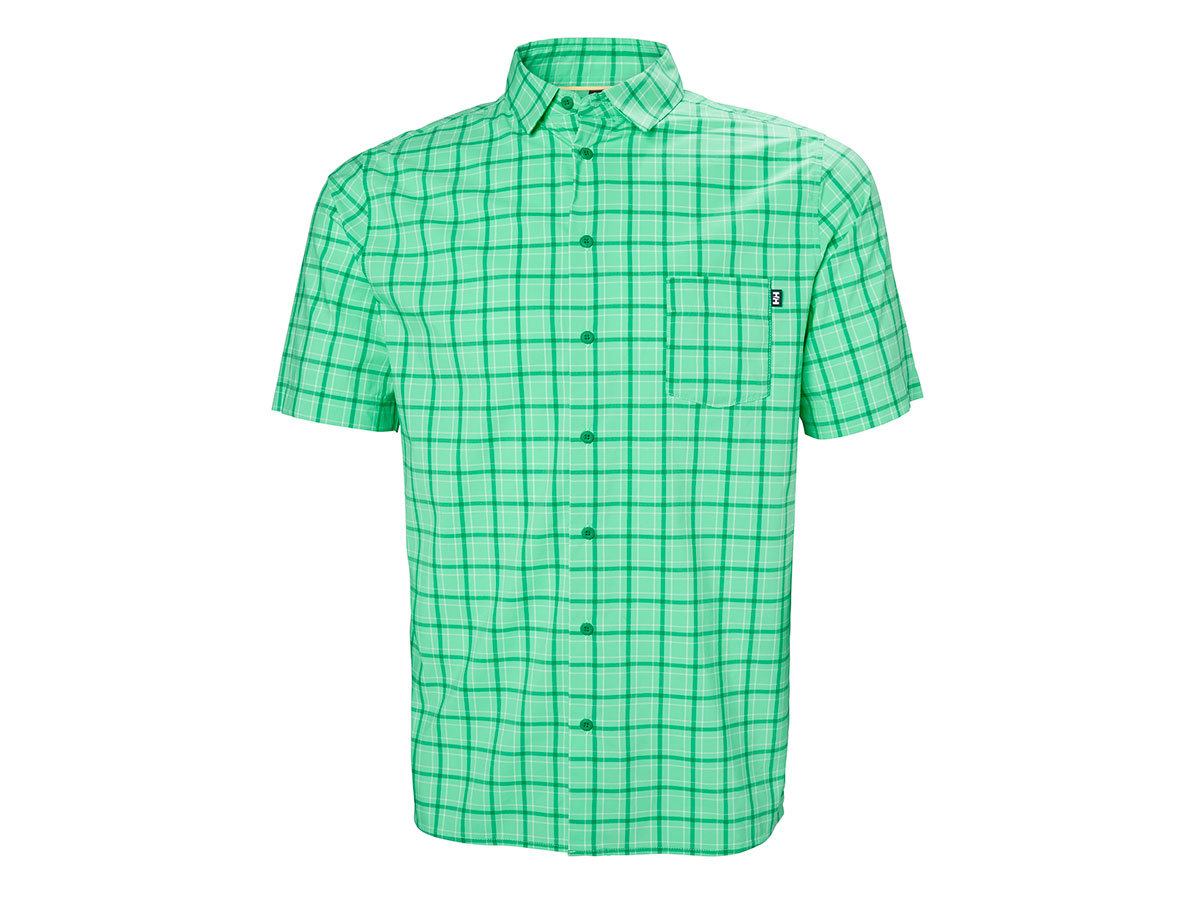 Helly Hansen FJORD QD SS SHIRT - PEPPER GREEN CHECK - L (34048_471-L )