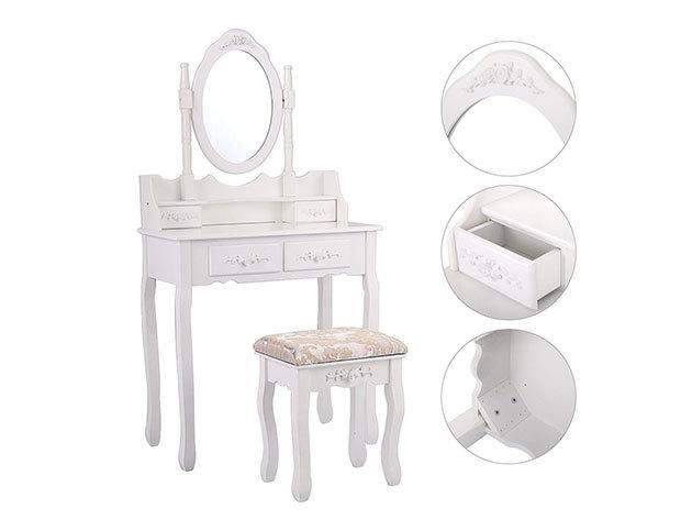 Tükrös fésülködő asztal, székkel - HOP1000943-1