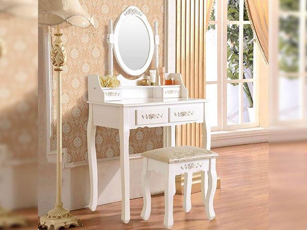 Tükrös fésülködő asztal fiókokkal és párnázott székkel, elegáns fehér színben