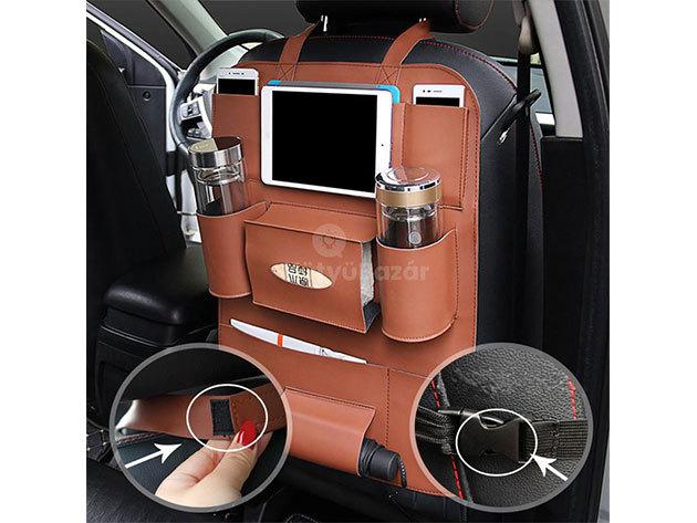 Ülésvédő autós tároló barna színben VHO-136
