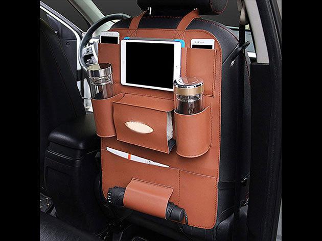 Ülésvédő autós tároló gyerekjátékok, palackok, telefonok és egyéb kiegészítők számára