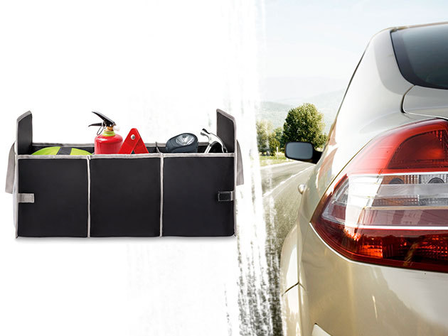 Autós tároló / csomagtartó rendező, mellyel véget vethetsz a káosznak - 3 nagy rekesszel és hálós oldalzsebbel
