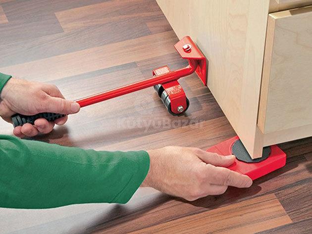 Bútorszállító készlet: 5 db-os szett emelővel és sarok mozgatókkal, melyekkel könnyedén eltolhatod a bútorokat