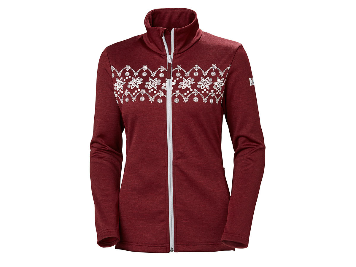 Helly Hansen W GRAPHIC FLEECE JACKET - CABERNET / FROST - S (51799_146-S )