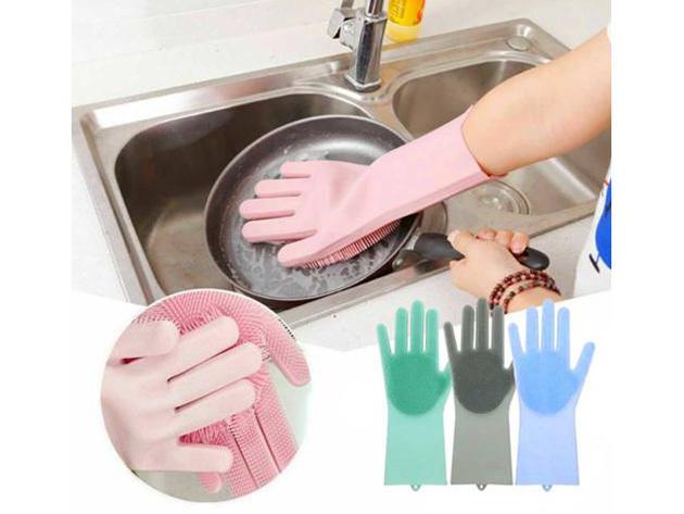 Szilikon mosogató kesztyű - hosszú élettartamú, hőálló, kombinálja a háztartási szivacs és kesztyű tulajdonságait