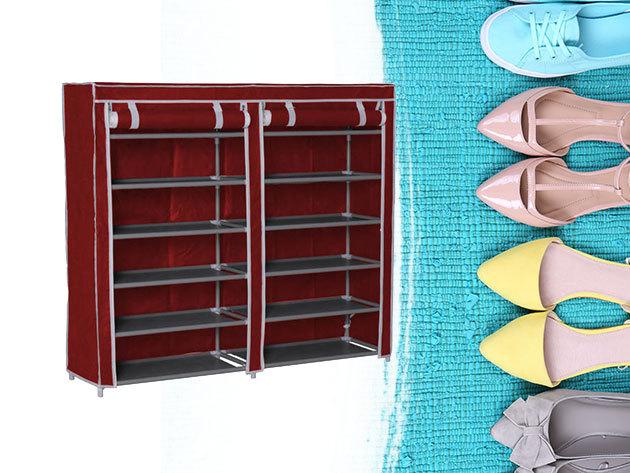 Mobil cipőtároló szekrény 2 színben, cipzáros huzattal, 12 polccal
