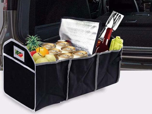 Autó csomagtartóba való többrekeszes tároló általános autós kiegészítők, felszerelések számára