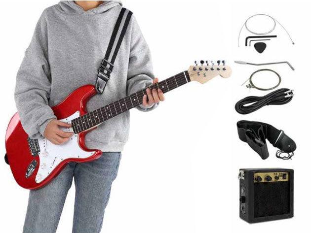 Elektromos gitár szett kezdőknek és hobbi zenészeknek, ajándék erősítővel - piros vagy fekete színben